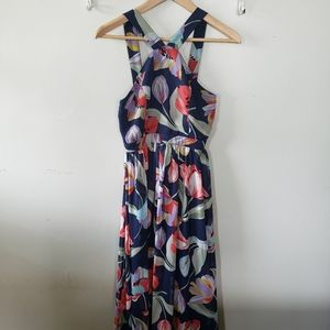 Lulus navy blue floral high neck halter maxi dress